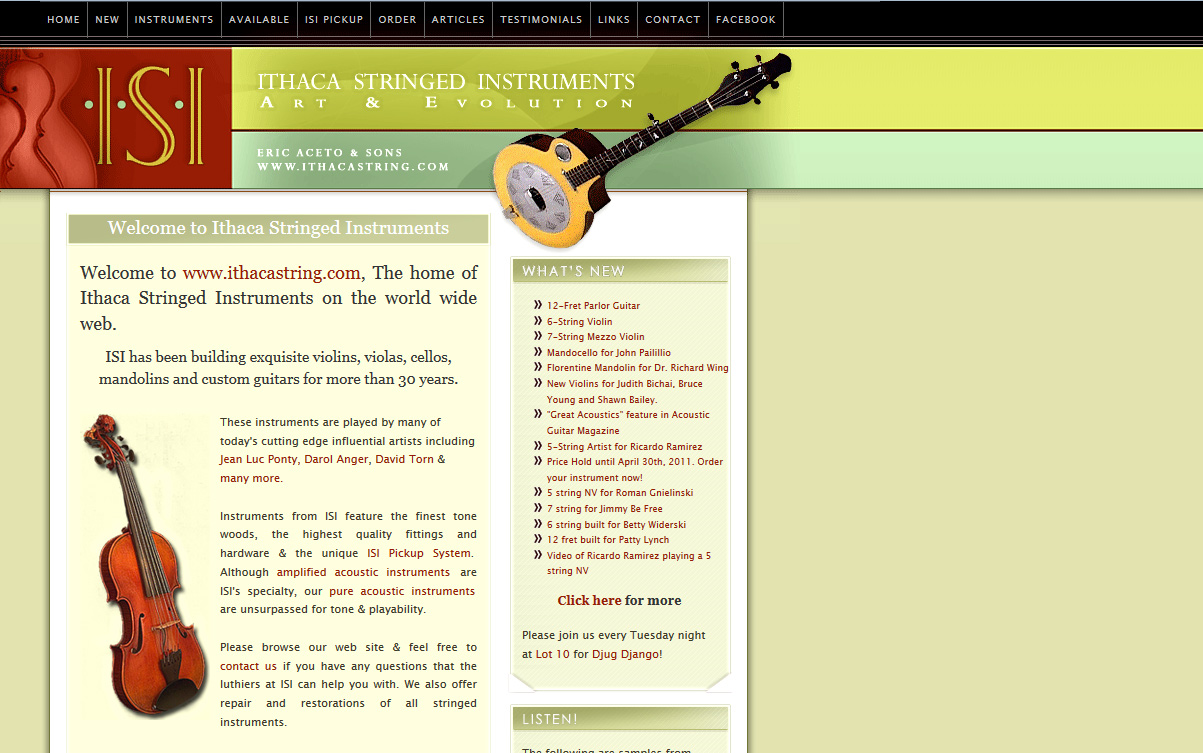 Ithaca Stringed Instruments - New Site Screenshot